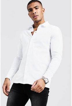 Mens White Long Sleeve Jersey Shirt