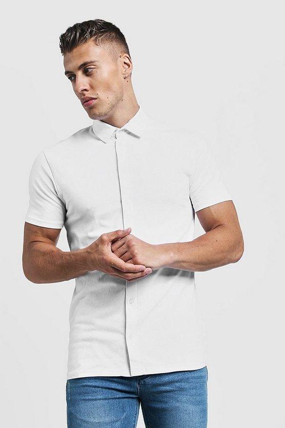 White Muscle Fit Short Sleeve Jersey Shirt