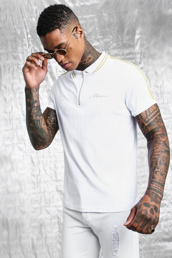 Mens White White & Gold MAN Muscle Fit Polo With Tape