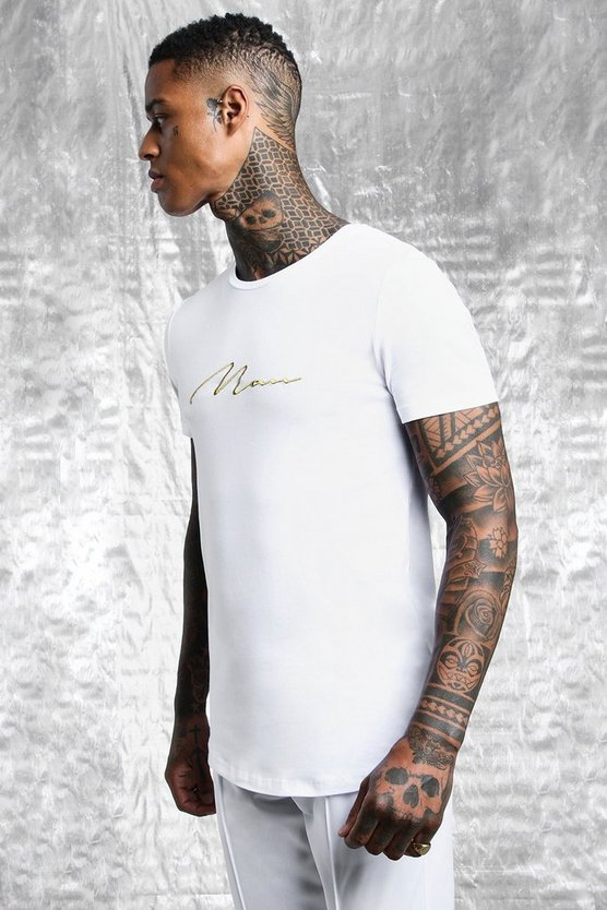 Mens White & Gold MAN Signature Muscle Fit T-Shirt