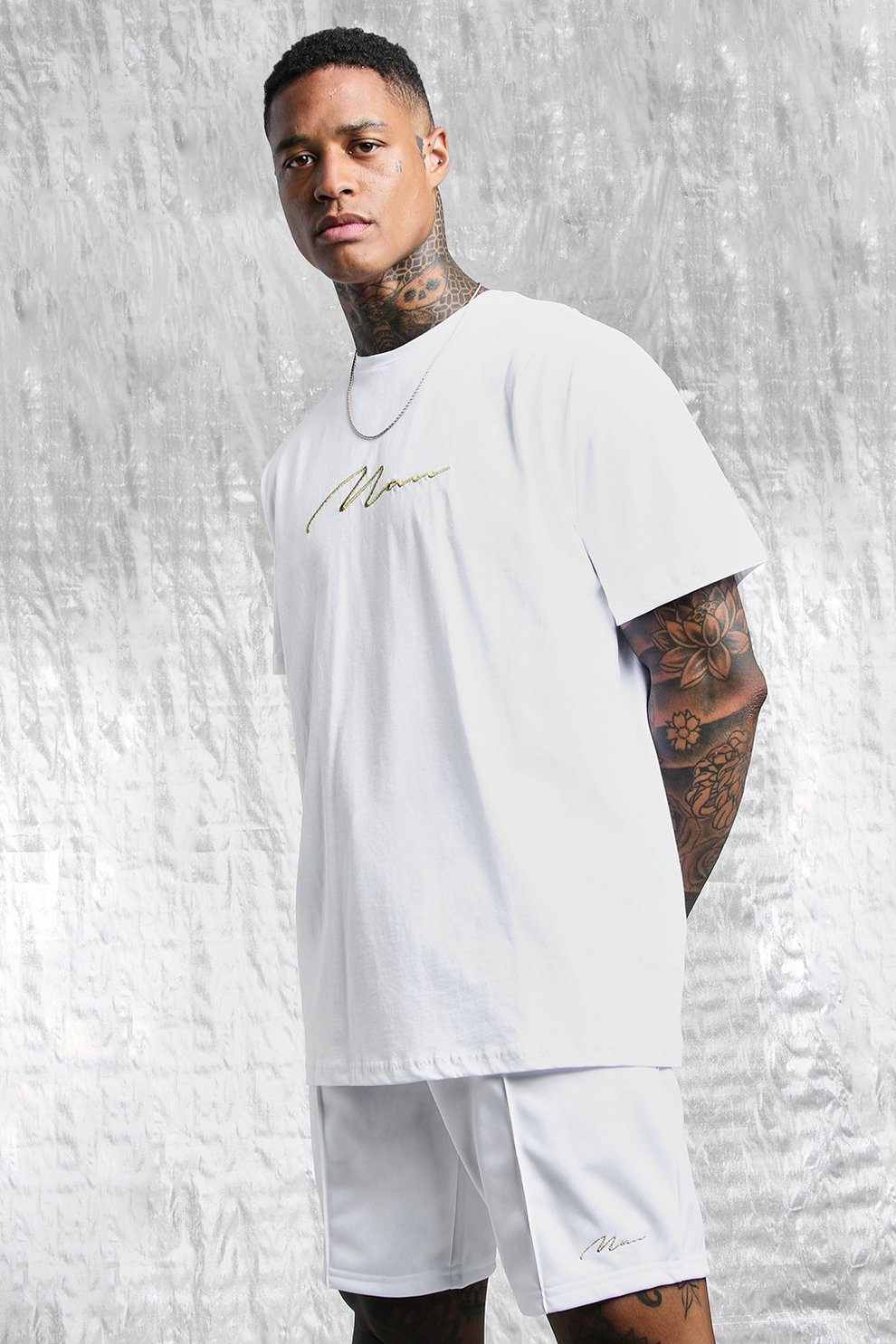9a5615826 White & Gold MAN Oversized Back Print T-Shirt - boohooMAN