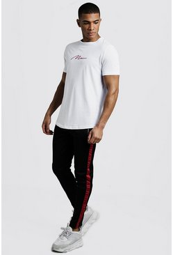 Mens Black MAN Curve Hem T-Shirt & Tricot Jogger Set With Tape