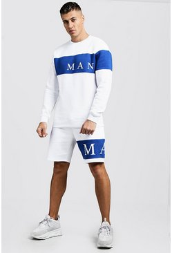 Mens Cobalt MAN Sport Contrast Panel Sweater Short Tracksuit