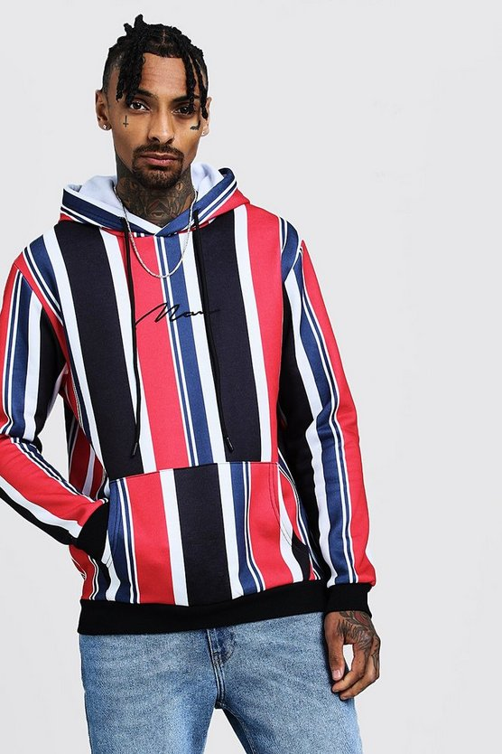 Mens Multi Oversized MAN Signature Stripe Hoodie