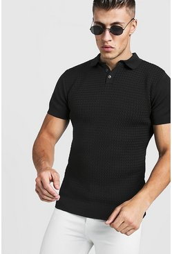 Mens Black Muscle Fit Cable Knit Polo
