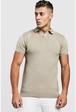 Mens Beige Muscle Fit Cable Knit Polo