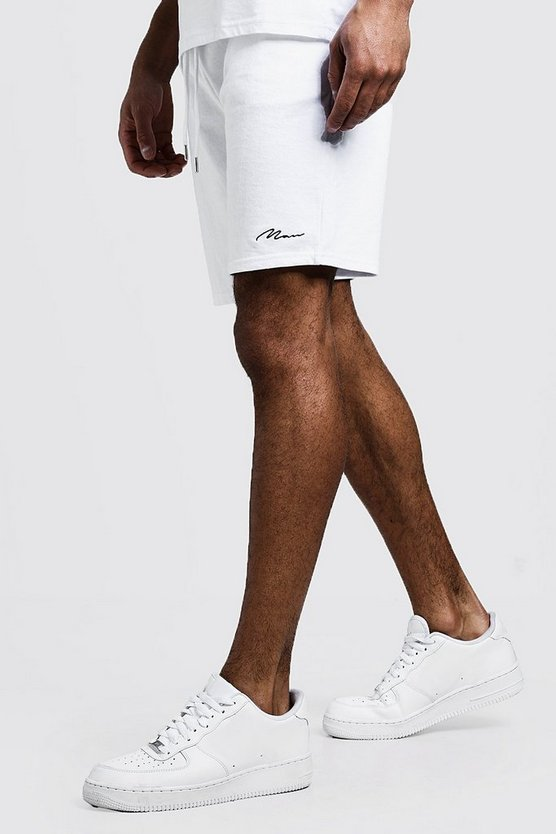 Mens White MAN Signature Mid Length Jersey Short