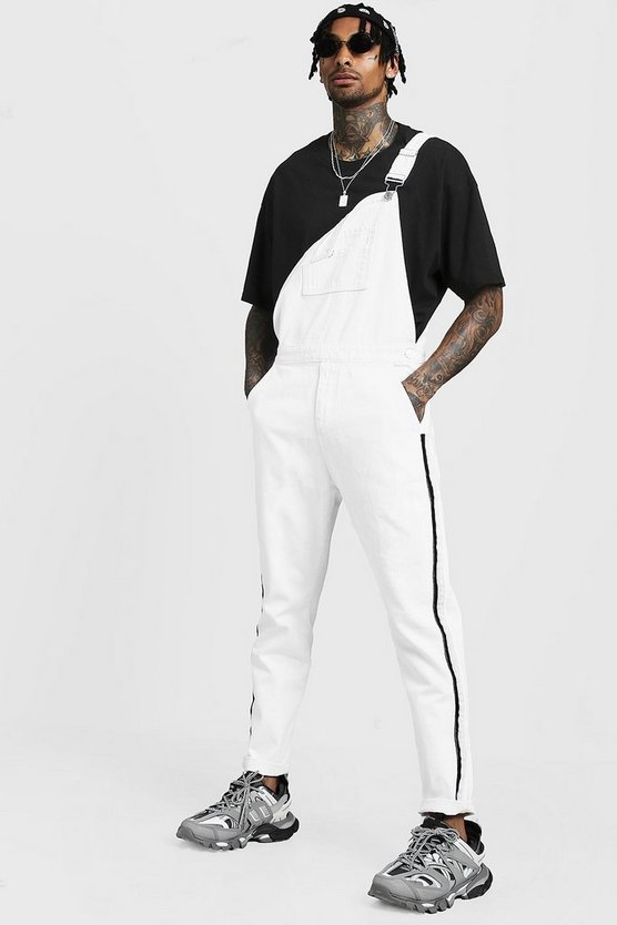 Mens White Slim Fit Denim Overalls With Tape Detail