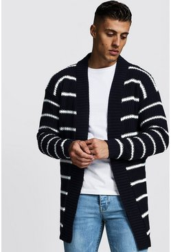 Mens Navy Oversized Knitted Cardigan With Stripes