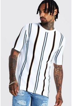 Mens Ivory Knitted T-Shirt With Vertical Stripe