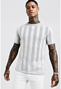 Mens Grey Vertical Stripe Mesh Knitted T-Shirt
