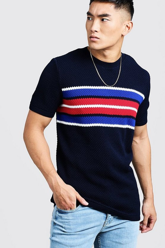 Mens Navy Knitted T-Shirt With Stripe Detail