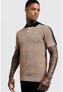 Mens Sand Muscle Fit Knitted Polo With Stripe