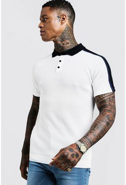 Mens White Muscle Fit Knitted Polo With Stripe