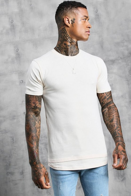 Mens Ecru Muscle Fit Tee With Faux Layer