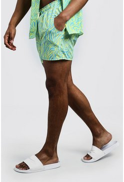 Mens Neon-yellow Animal Print Swim Short In Short Length