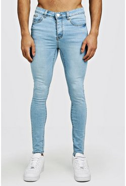 Mens Spray On Skinny Jeans In Light Blue
