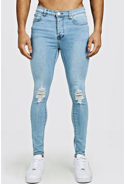 Mens Light blue Spray On Skinny Fit Jeans With Ripped Knee