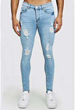 Mens Light blue Spray On Skinny Jeans With Distressing