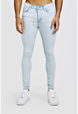 Mens Spray On Skinny Jeans In Ice Blue