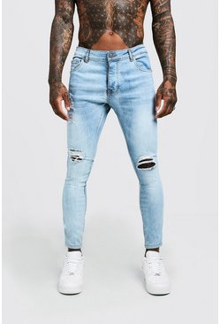 Mens Light blue Skinny Fit Jeans With Ripped Knee And Side Tape