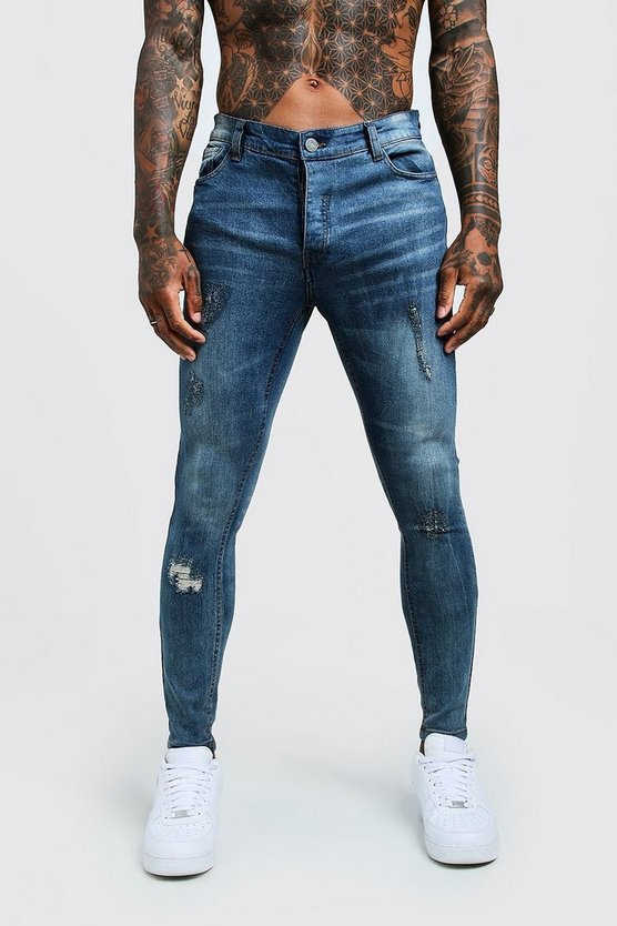 Mens Mid blue Super Skinny Jeans With Ripped Knees