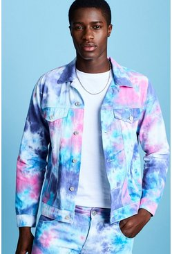 Mens Pink Tie Dye Denim Jacket