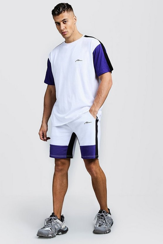 Mens Purple MAN Colour Block Loose Fit T-Shirt & Short Set