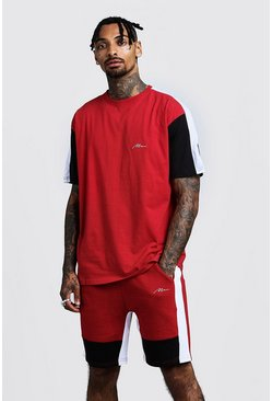 Mens Red MAN Colour Block Loose Fit T-Shirt & Short Set