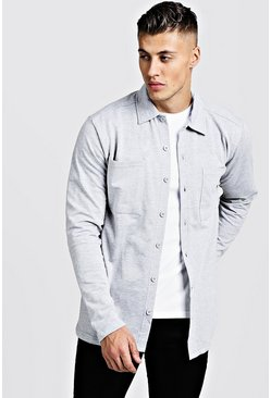 Mens Grey marl Jersey Utility Button Through Shacket