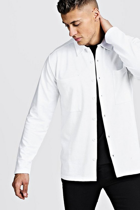 Mens White Jersey Utility Button Through Shacket