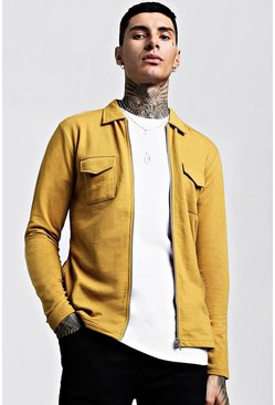 Mens Mustard Jersey Utility Zip Shacket