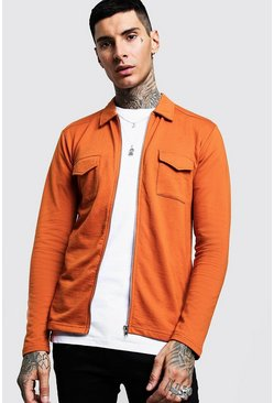 Mens Burnt orange Jersey Utility Zip Shacket