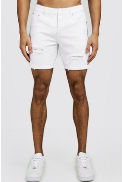 Slim-Fit Jeansshorts im Destroyed-Look mit Tape-Detail, Weiß, Herren