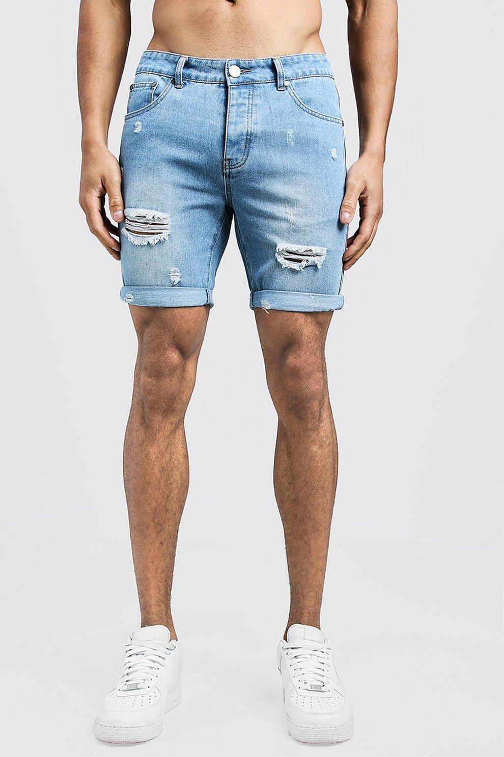 bd03ad8ecdd06 Mens Vintage wash Slim Fit Distressed Tape Detail Denim Shorts