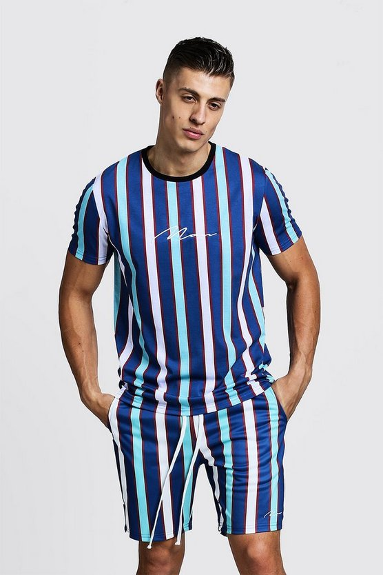 Mens Blue MAN Signature Stripe T-Shirt & Short Set