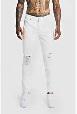 White Tapered Fit Denim Jeans With Ripped Knee