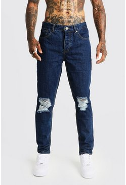 Mens Mid blue Tapered Fit Denim Jeans With Ripped Knee