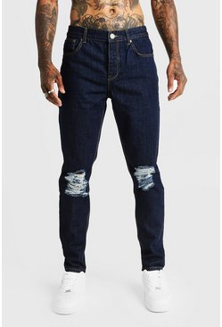 Mens Dark blue Tapered Fit Denim Jeans With Ripped Knee
