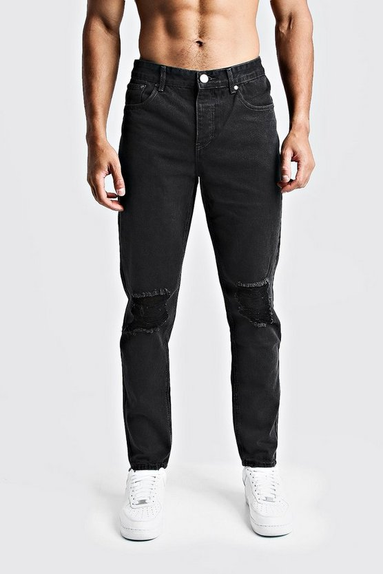 Mens Charcoal Tapered Fit Denim Jeans With Ripped Knee