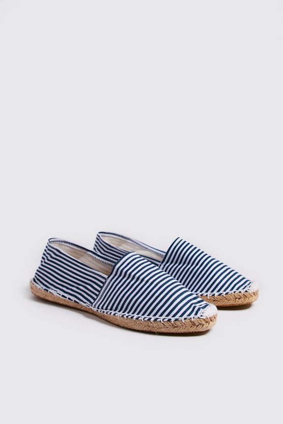 Mens Navy Stripe Canvas Espadrilles