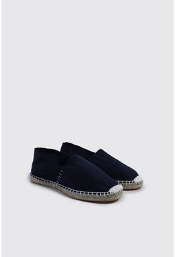 Mens Navy Slip On Canvas Espadrille
