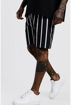 Mens Black Pinstripe Mid Length Short