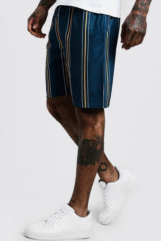 Mens Blue Stripe Detail Mid Length Short