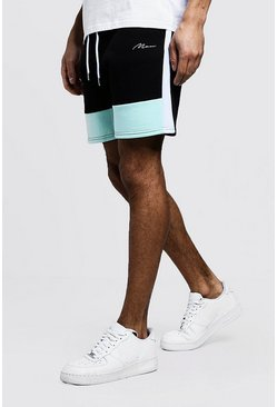 Mens Aqua Colour Block MAN Mid Length Short