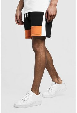 Mens Orange Colour Block MAN Mid Length Short