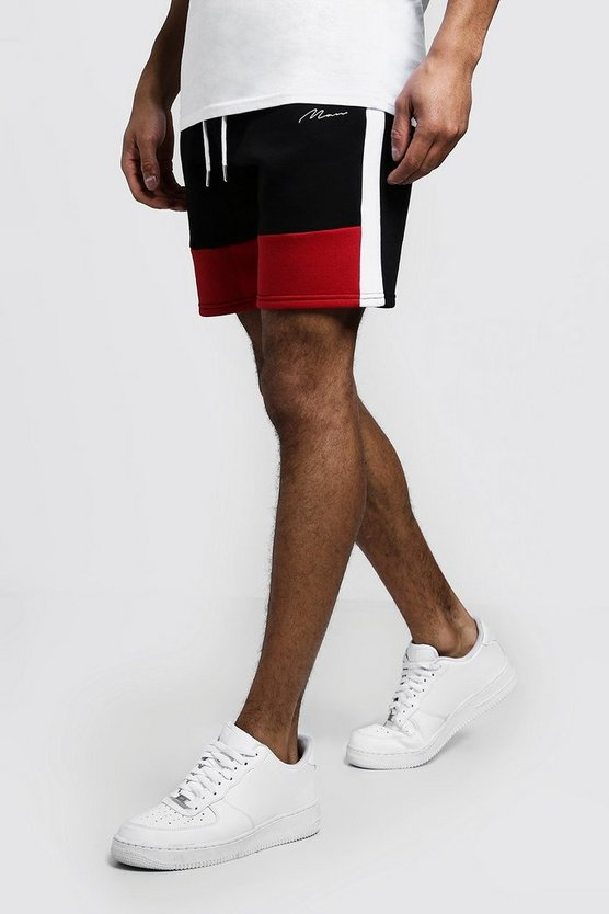 Mens Red Colour Block MAN Mid Length Shorts