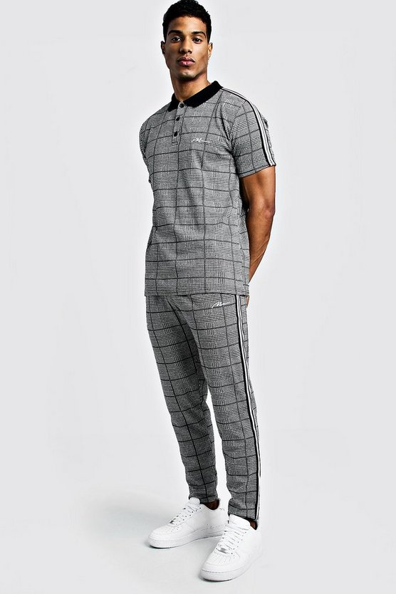 Mens Black MAN Signature Check Polo & Jogger Set