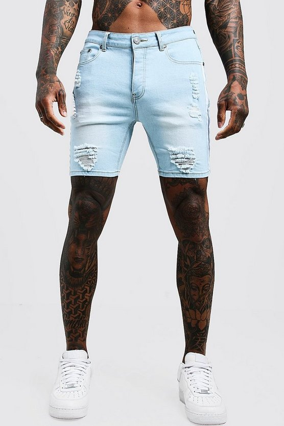 Mens Light blue Skinny Fit Distressed Shorts With Side Tape