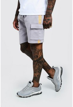 Mens Grey Neon Taped Cargo Mid Length Shorts